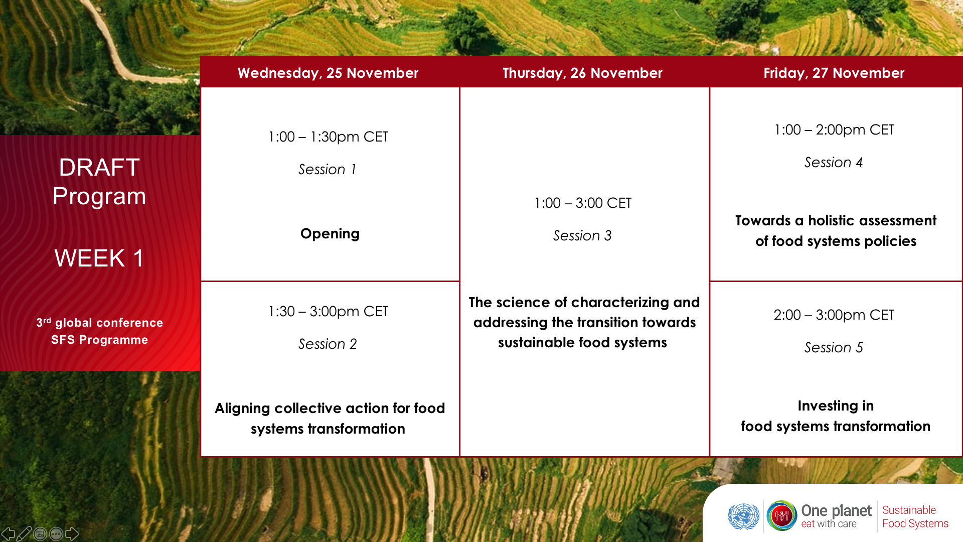 Draft agenda 3rd conference sustainable food systems programme