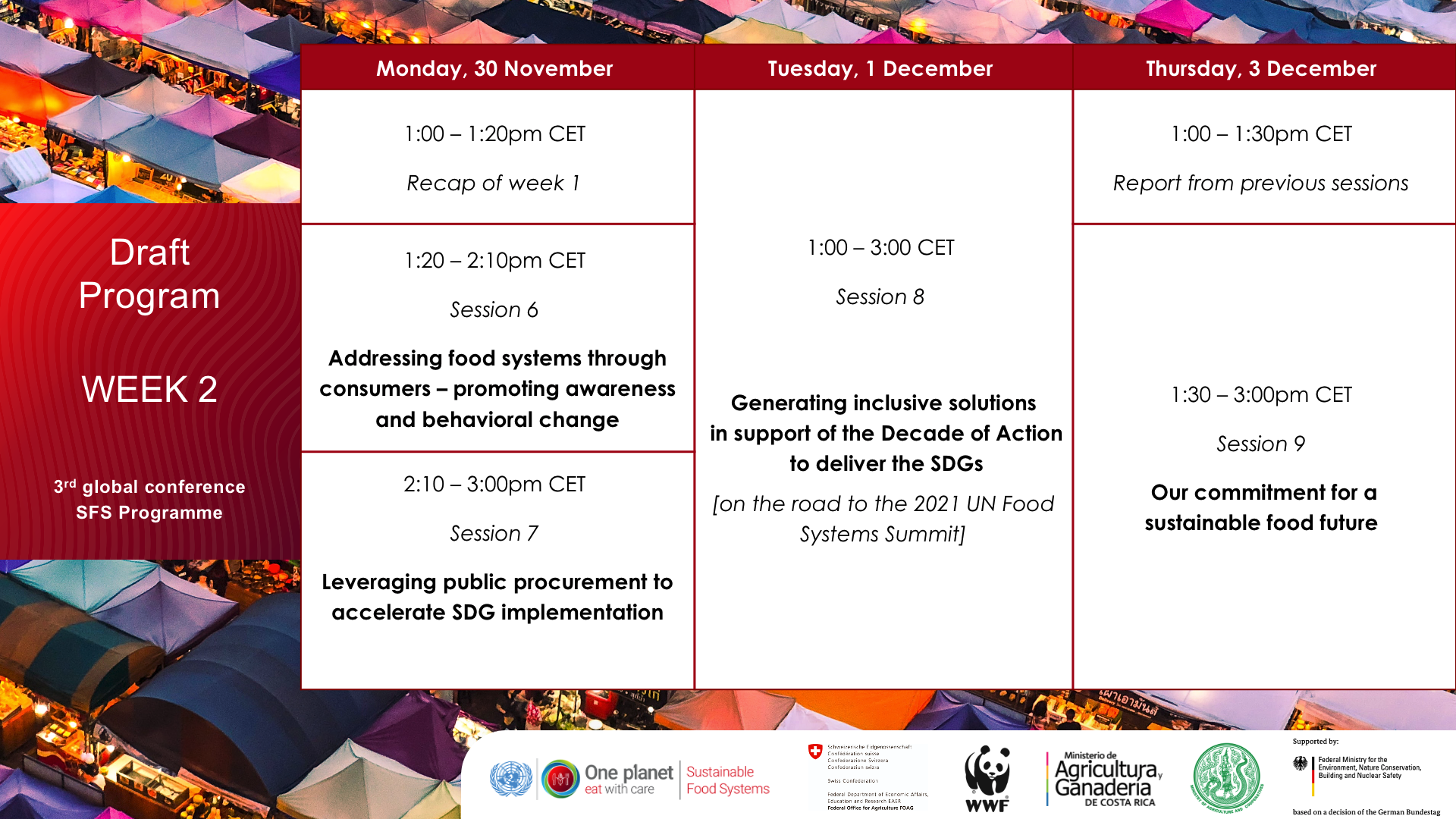 Draft Agenda 3rd global conference sustainable food systems programme UN