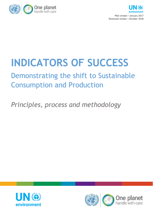 Front cover of the One Planet network indicators of success document