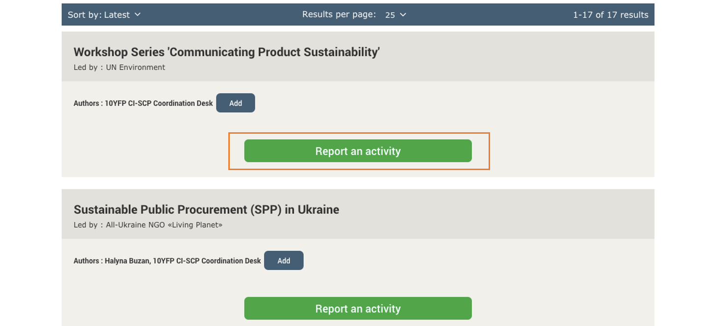 Screen grab of One Planet network website - Report an activity button