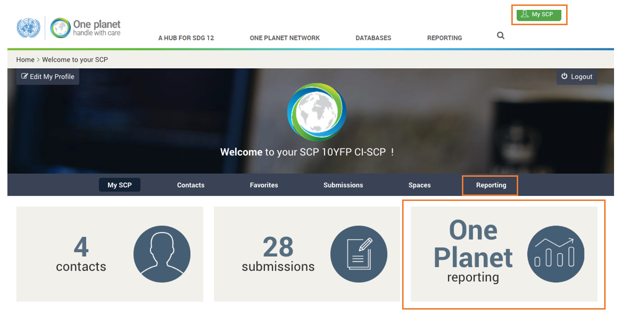 Screen grab of One Planet network website - MySCP page
