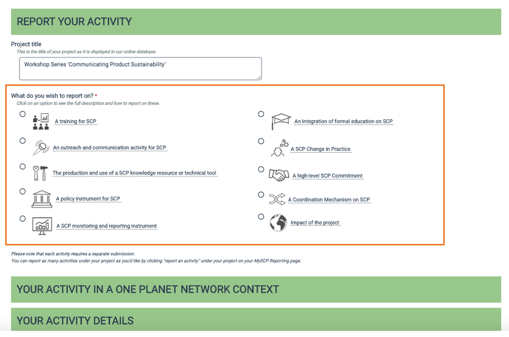 Screen grab of One Planet network website - report your activity form