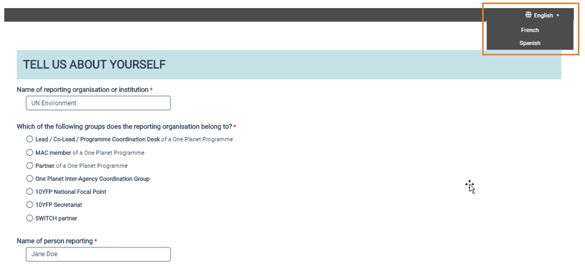 Screen grab of One Planet network website - language selection button
