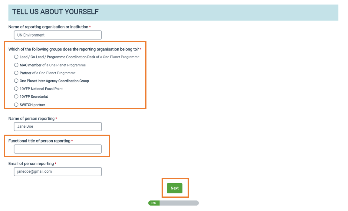 Screen grab of One Planet network website - Tell us about yourself fields