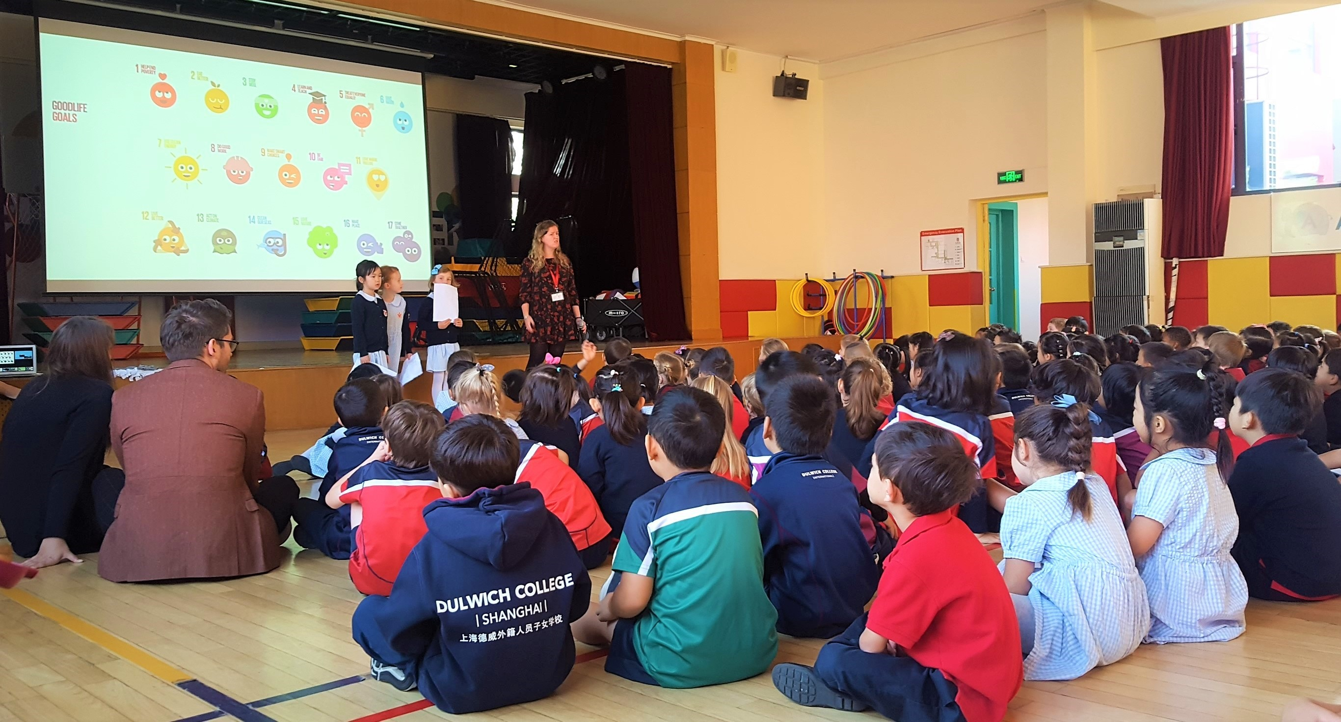 The Goodlife Goals featured in an assembly at Dulwich College Shanghai Pudong